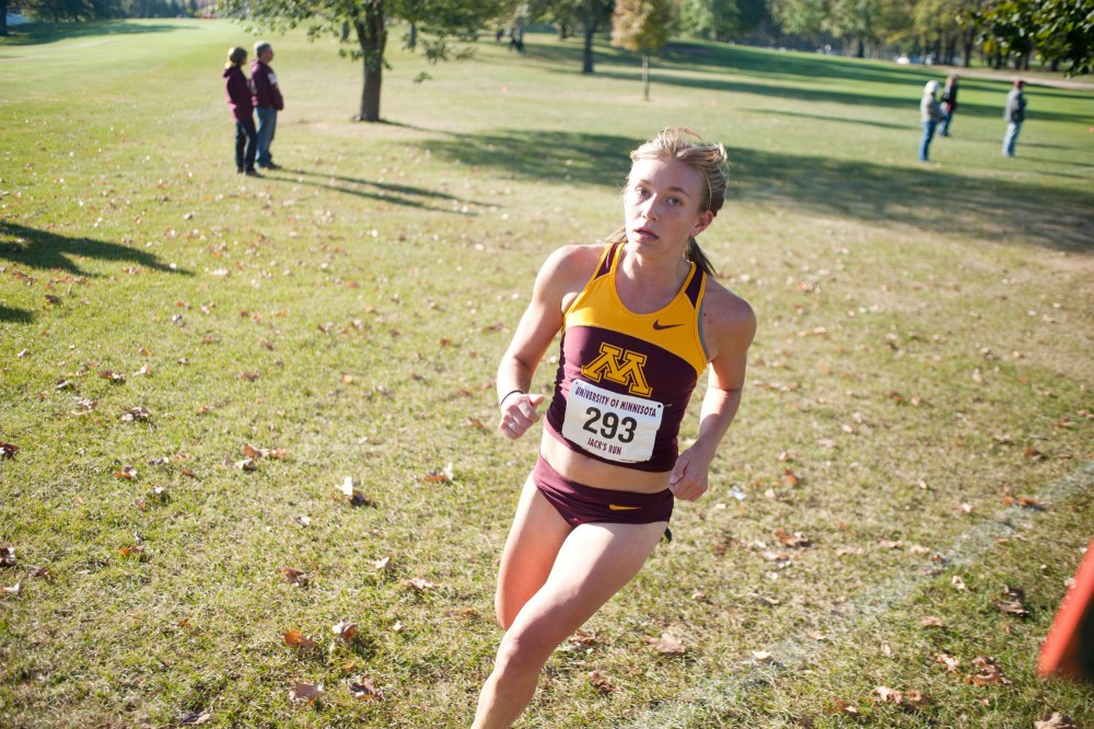 Junior Andrea Rediger was the first Gophers' first finisher at the Jack's Run on Saturday at Les Bolstad Golf Course. Gophers' head coach Gary Wilson said he is still unsure of who will earn the final roster spot for the Big Ten Championships next weekend in Champaign, IL.