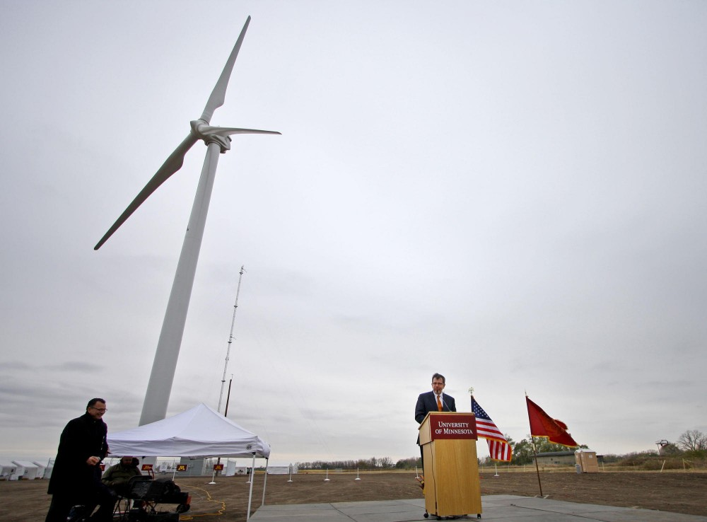 University of Minnesota President Eric Kaler spoke at the flipping of the switch ceremony Tuesday for the university's new 263-foot tall wind turbine at the Wind Energy Research Station at UMore Park in Rosemount, Minnesota.