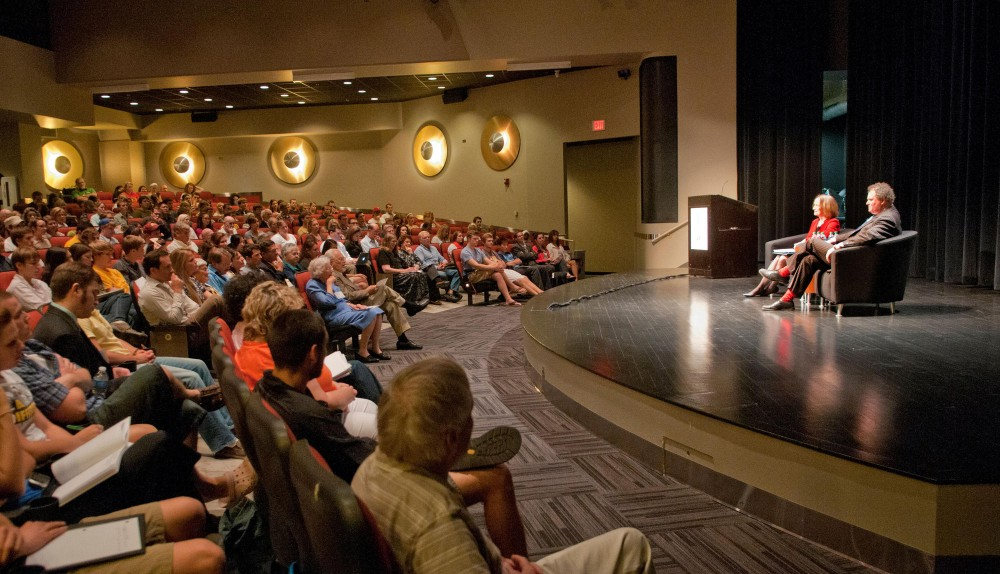 Mark Stephens and Jane Kirtly speak at the 26th Annual Silha Lecture Tuesday evening in Coffman Union Theater.