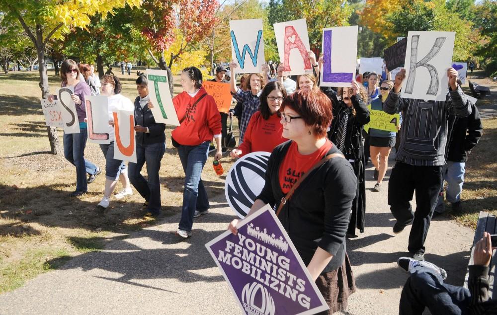 Activists march Saturday during the Minneapolis Slut Walk.