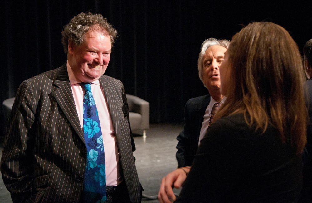 Former council to Julian Assange Mark Stephens chats with University of Minnesota Professor of Law Stephen Cribari and Law student Barbara Wold after the 26th Annual Silha Lecture Tuesday evening at Coffman Union.