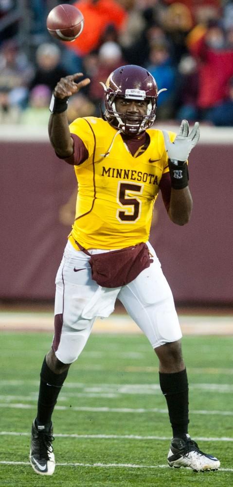Minnesota quarterback MarQueis Gray throws the ball during Saturday's game against Illinois at TCF Bank Stadium.