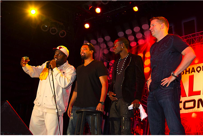 All-Stars Corey Holcomb, DeRay Davis, Michael Blackson and Gary Owen on stage at Humphrey's in San Diego, CA