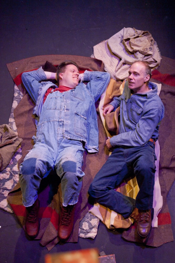 Actors E. J. Subkoviak and Terry Hempleman play Lennie and George, respectively, in Park Square Theatre's adaptation of