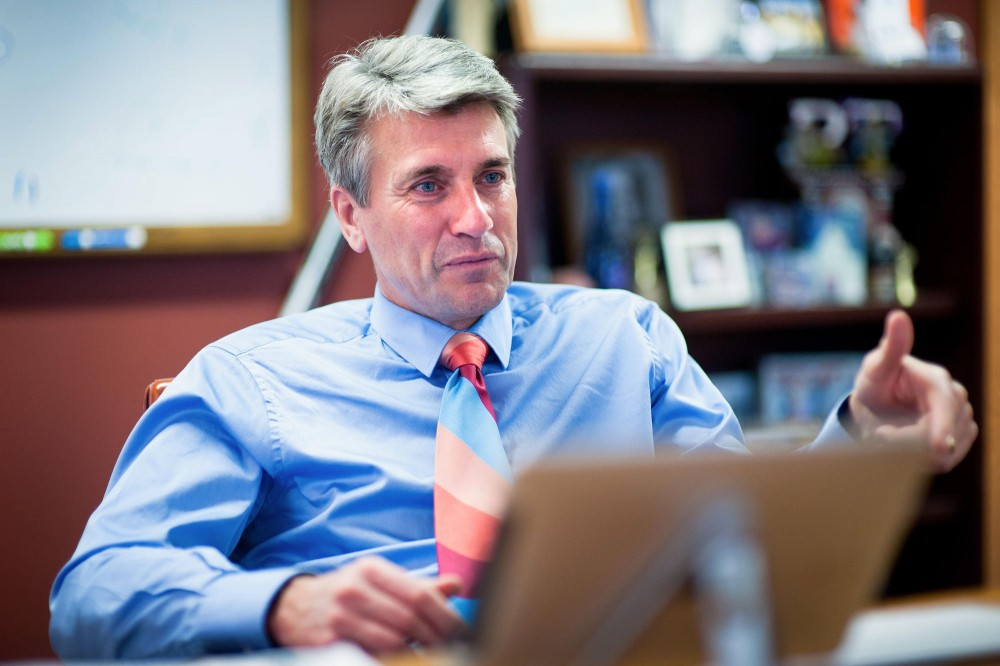 Minneapolis Mayor R.T. Rybak talks about his involvement at the University Thursday in his office at City Hall in Downtown Minneapolis.  Rybak was first elected to the mayor's office in 2001.