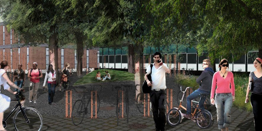 A view of the preliminary plans for the proposed bike pasture near Rapson Hall.