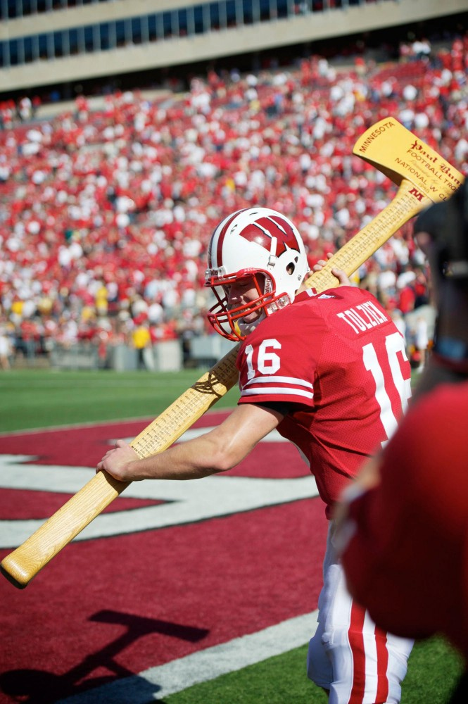 Wisconsin quarterback Scott Tolzien hoists Paul Bunyan's Axe after last season's Badgers victory over Minnesota on Oct. 9 at Camp Randall Stadium.