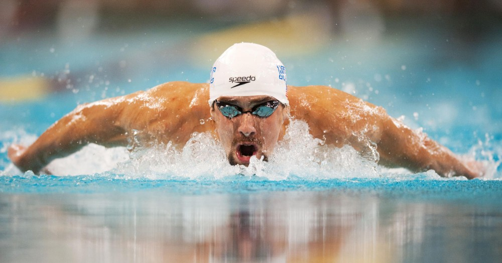 Michael Phelps competes in the championship final of the Men's 200m Individual Medley event during Minneapolis Grand Prix on Sunday at University Aquatic Center.