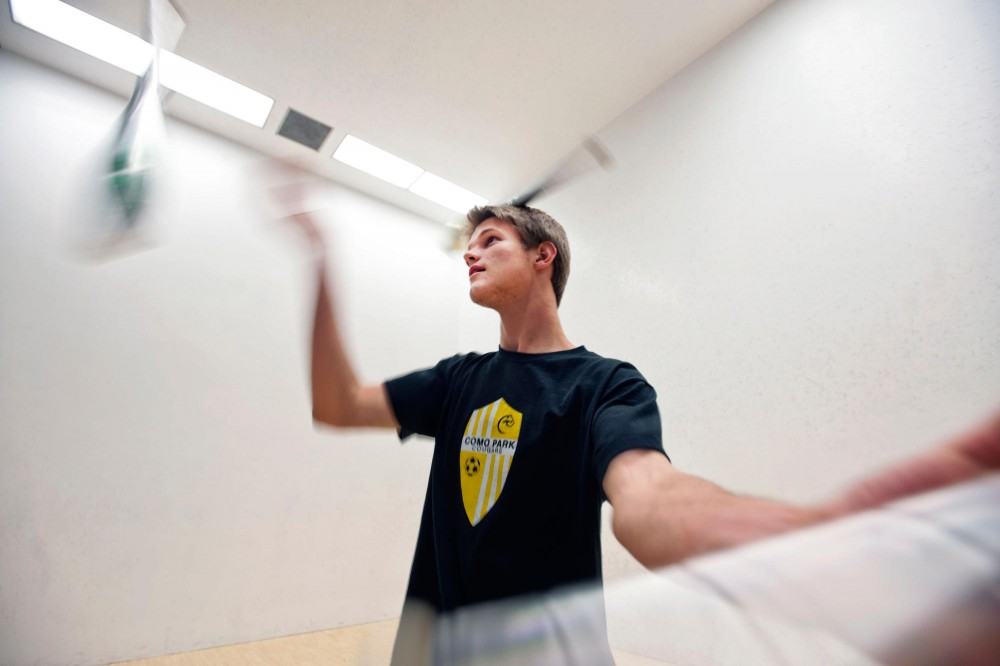 Neuroscience sophomore Stefan Brancel juggles clubs Tuesday at the University's Recreation Center.