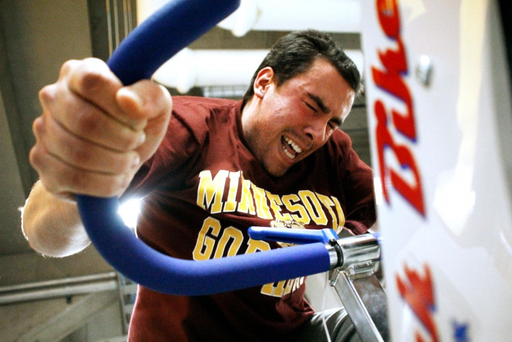 Patrick McGarrah tests his anaerobic power in a 30-second stationary bike sprint Friday at the Human Performance Teaching Laboratory.