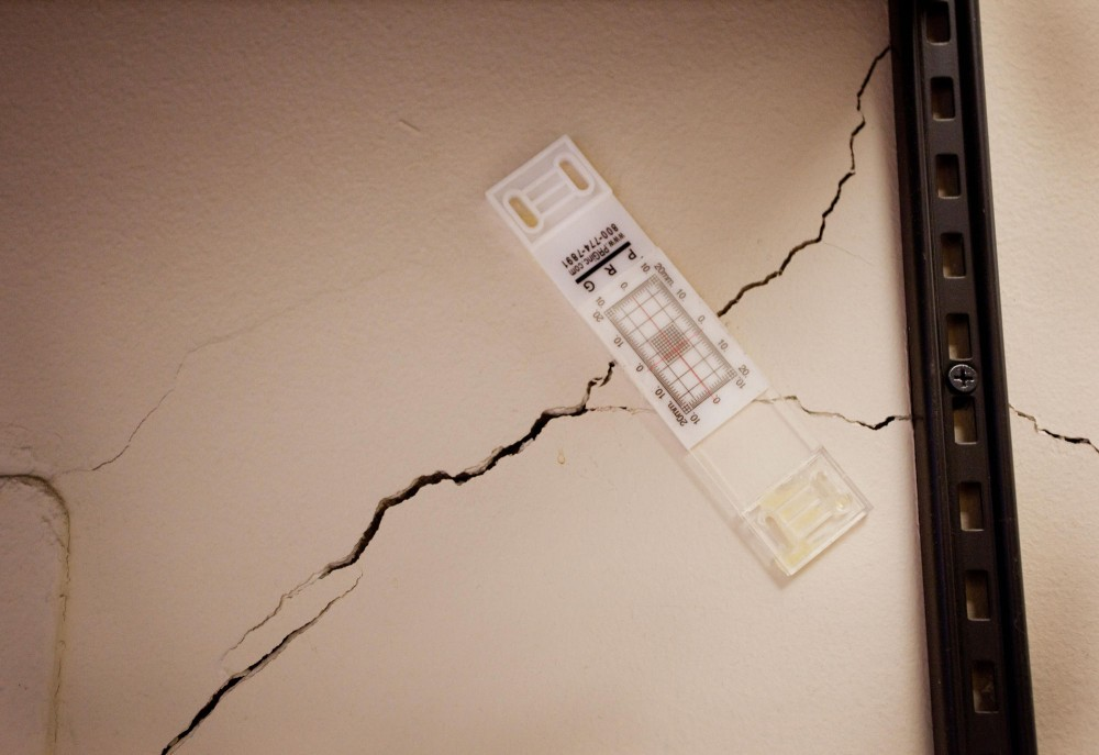 Cracks appeared in the walls on the second floor of Lind Hall after construction workers removed a supporting wall on the first floor.