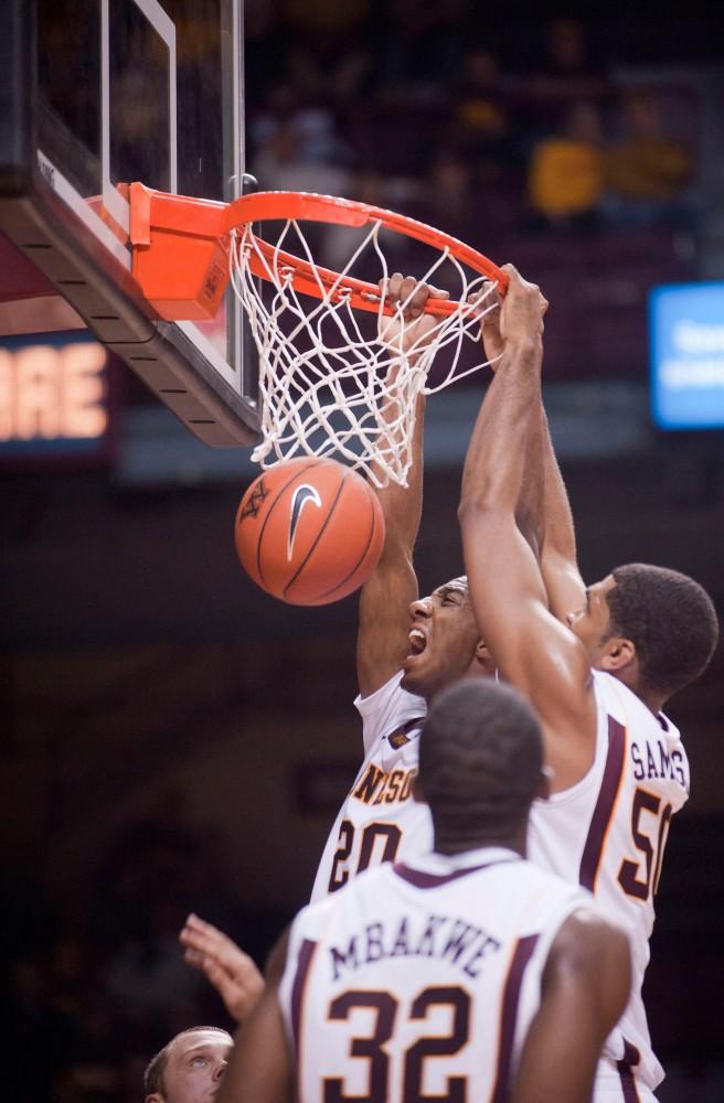 Minnesota guard Austin Hollins makes a basket against Bemidgi State Nov. 2 at Williams Arena.