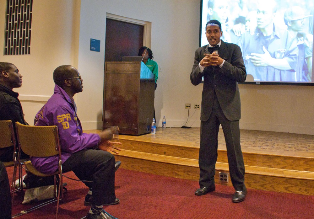 Attorney Rasheed Ali Cromwell presents the Miseducation of the Black Greek Experience Tuesday night at Coffman Union.  Cromwell spoke to various misrepresentations of black greek life and how to focus on leadership development.