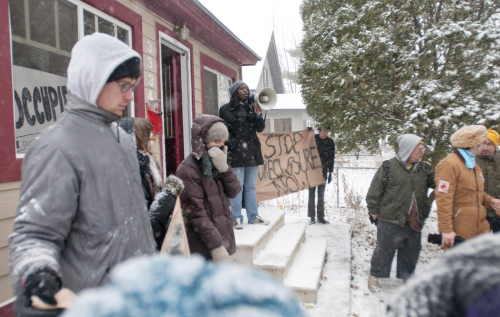 Occupy Minnesota protestors took over a foreclosed house in the Corcoran neighborhood Saturday evening.  Protestors left the Hennepin County Government Center Saturday afternoon and remained in the house until police removed them Sunday afternoon and boarded up the windows.