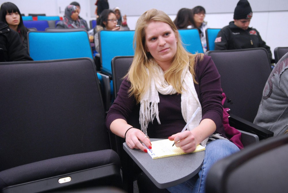 Sophomore Meghan Sherratt is just one of the left handed student at the University of Minnesota who says she has issues with things like right handed desks.