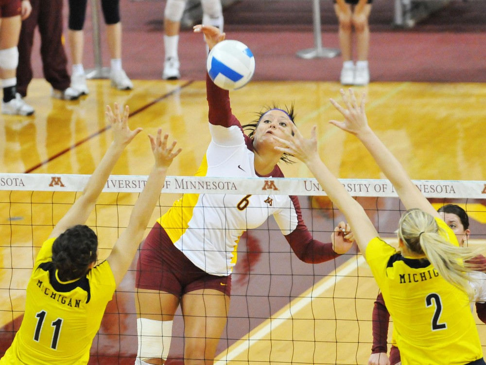 Tori Dixon led her team well during the Gophers' volleyball game against Michigan Sunday in the Sports Pavilion. The Gophers lost in all three sets to the Wolverines.