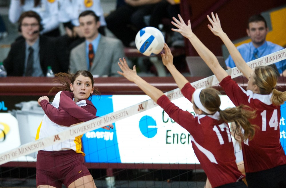 Gophers outside hitter Hailey Cowles spikes a ball during a game against Indiana on Friday at Sports Pavilion.