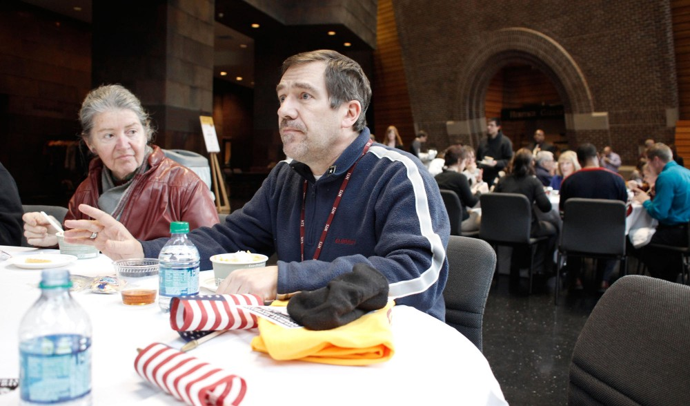 Retired Staff Sergeant Tom Murray discusses difficult past experiences at the University of Minnesota Student Veterans Appreciation Day Thursday held in the McNamara Alumni Center. Murray is currently a network analyst for the University.