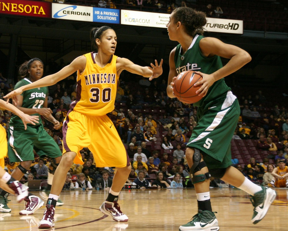 University of Minnesota Senior Kiara Buford guards Michigan State Senior Brittney Thomas Saturday, Jan. 23, 2010 at Williams Arena in Dinkytown.