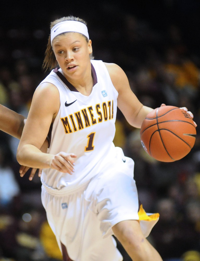 Minnesota guard Rachel Banham against against the Binghamton Bearcats on Nov. 19 in the women's 2011 Subway Basketball Classic at Williams Arena.