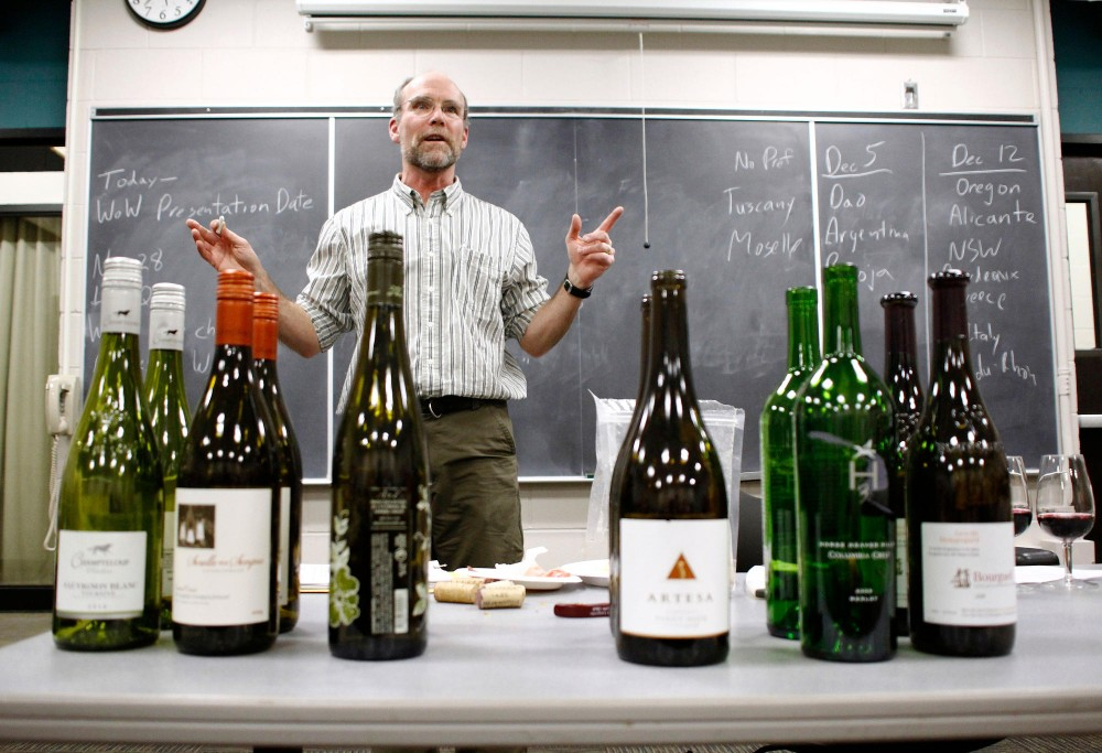 Professor James Luby lectures on how to pair wine with food in Horticulture 1031 Monday in St. Paul.  The course on viticulture and enology incorporates science and tasting of wine.