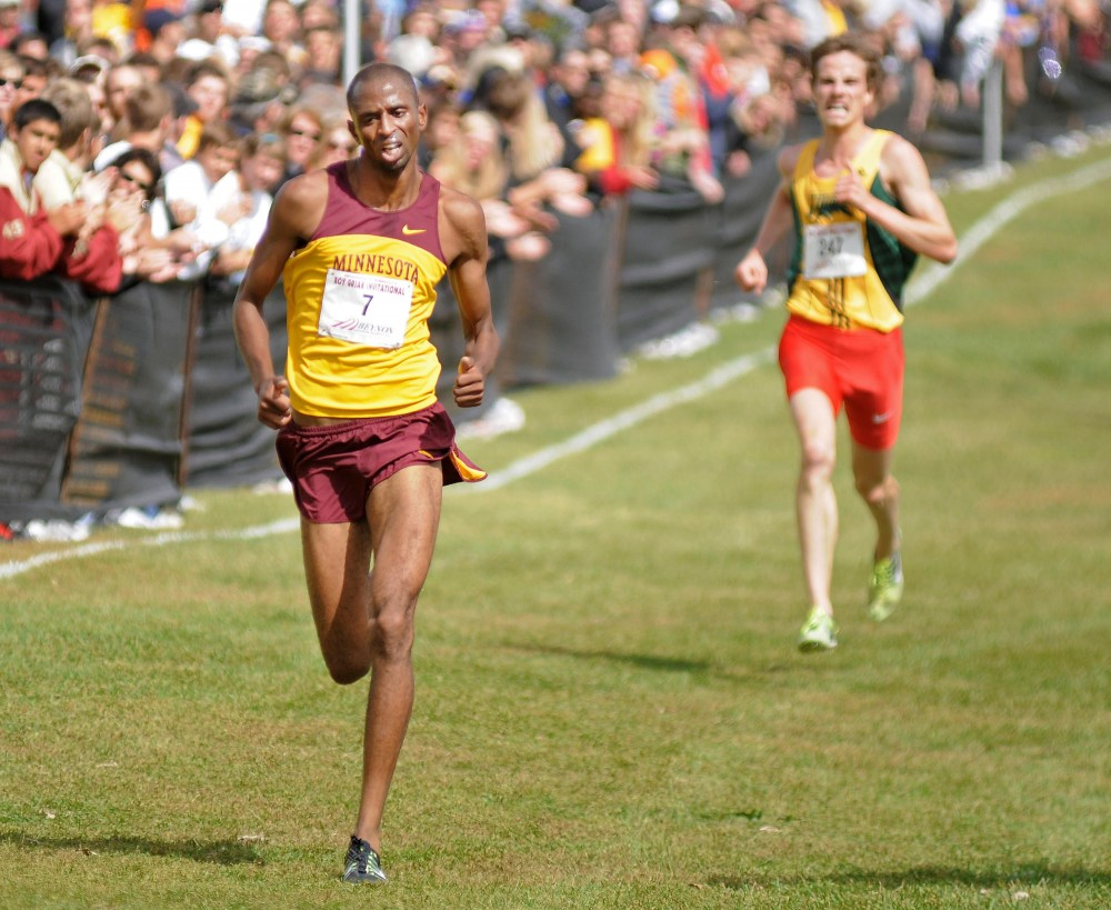 Senior Hassan Mead approaches the finish line Sept. 24 during the 26th Annual Roy Griak Invitational in Falcon Heights.