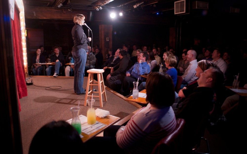 University of Minnesota alumna Linda Aarons performs the first set of the night Wednesday at Acme Comedy Company in Minneapolis.
