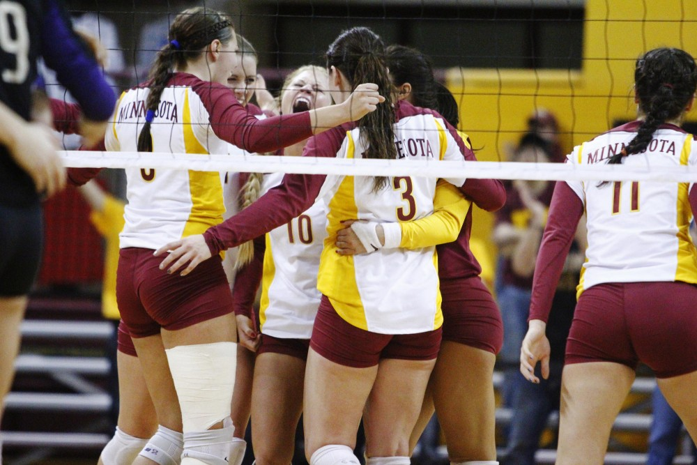 Minnesota celebrated Saturday at the Sports Pavilion after defeating Washington. Minnesota will advance to the NCAA regionals.