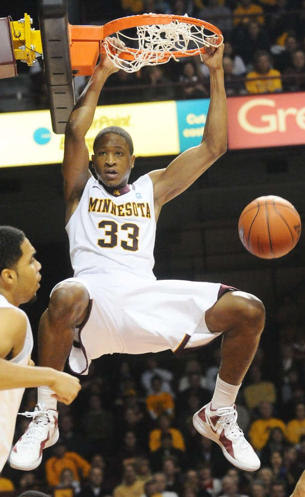 Minnesota forward Rodney Williams dunks the ball hard against USC Dec. 3 at Williams Arena.