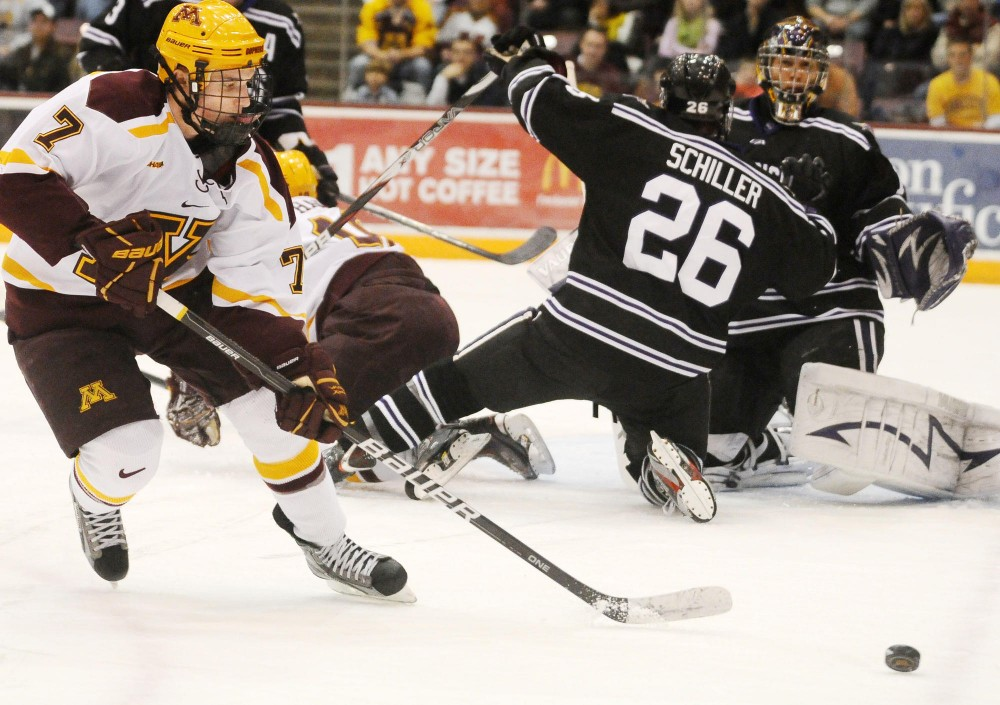 Kyle Rau plays hard against Minnesota State Friday night at Mariucci Arena. The Gophers' claimed victory leading 3-2.