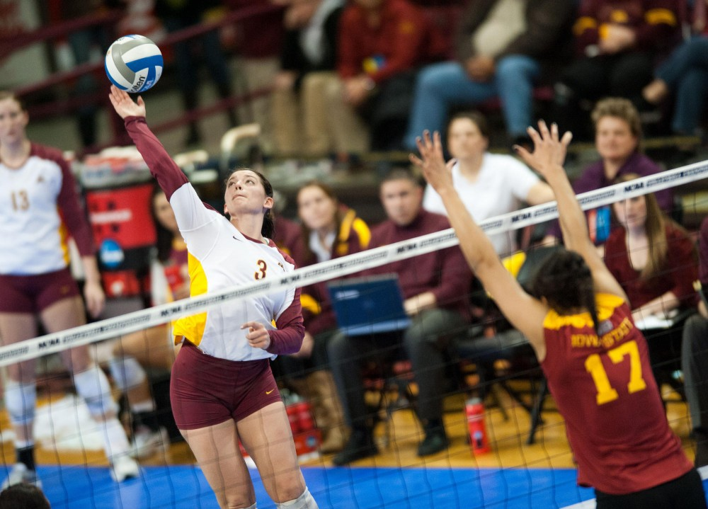 Gophers outside hitter Hailey Cowles spikes against Iowa State on Friday at the Sports Pavilion.