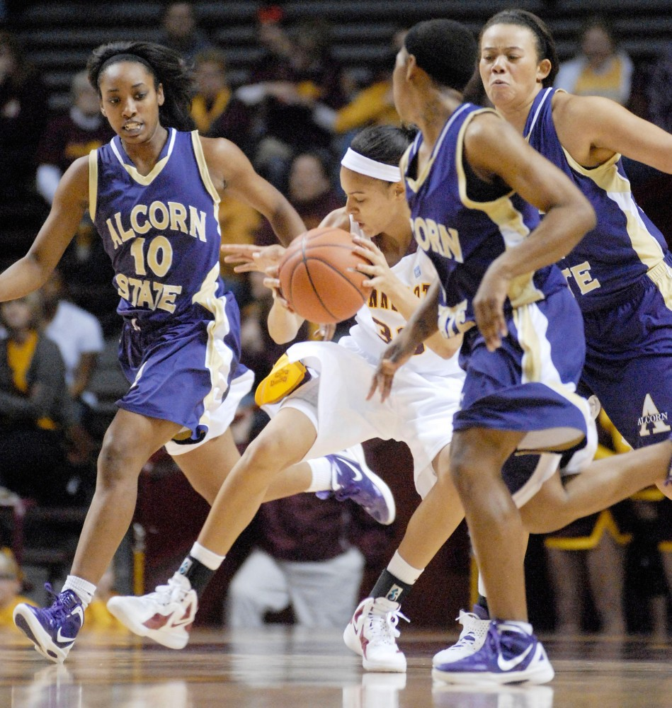 Minnesota guard Kiara Buford drivews down the court against Alcorn State on Sunday afternoon at Williams Arena.