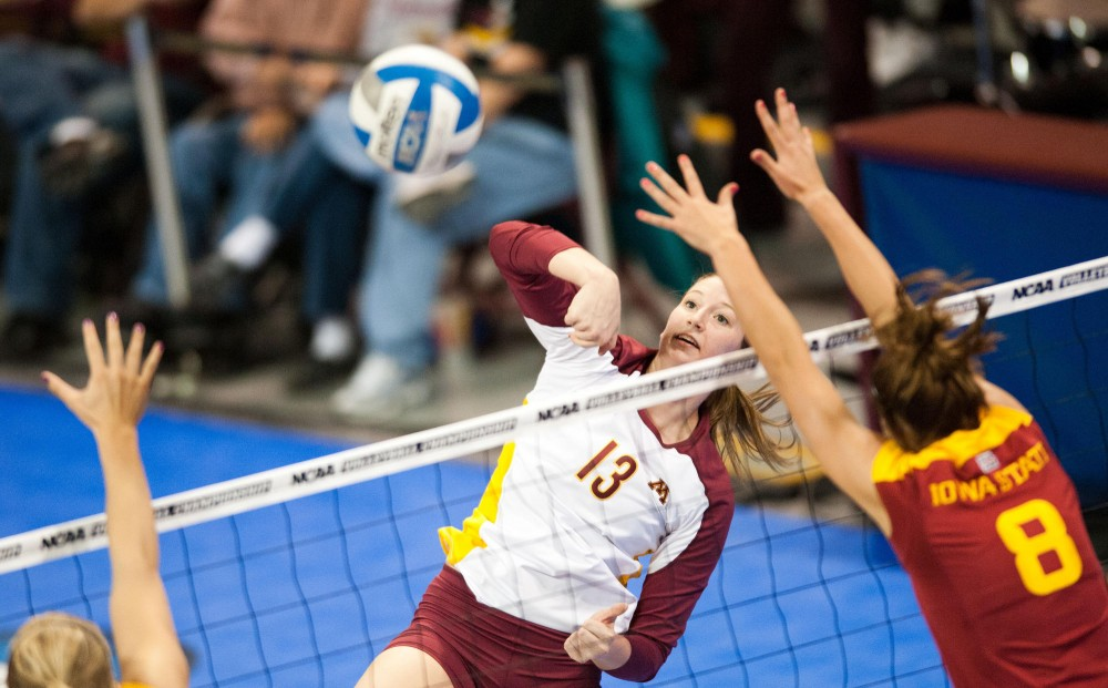 Gophers outside hitter Hailey Cowles spikes the ball against Iowa State on Friday at the Sports Pavilion.