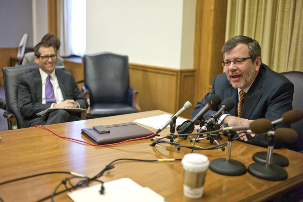 President Eric Kaler, right, speaks to the media about the University's 2012 legislative priorities Friday at the State Capitol in St. Paul. Kaler was joined by the University's new special assistant to the president for government relations Jason Rohloff.