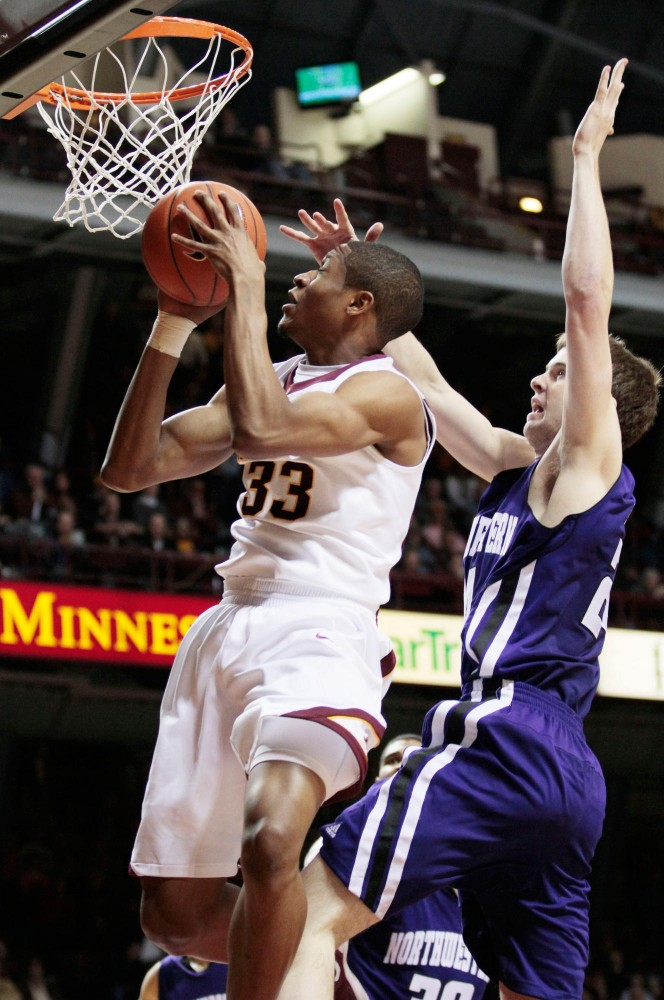 Minnesota forward Rodney Williams goes up for a dunk against Northwestern on Sunday at Williams Arena.