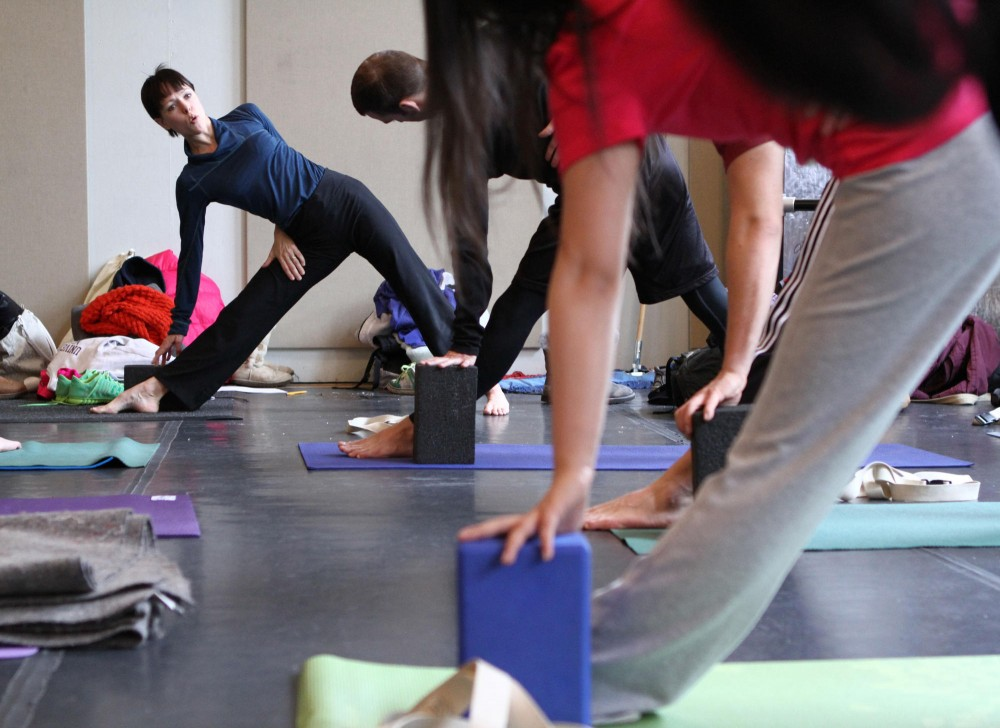 Yoga instructor Christine Ojala teaches a range of skill levels in the University's only for-credit yoga class. The class had such high demand that Ojala received around 100 emails from students seeking a spot in the class.