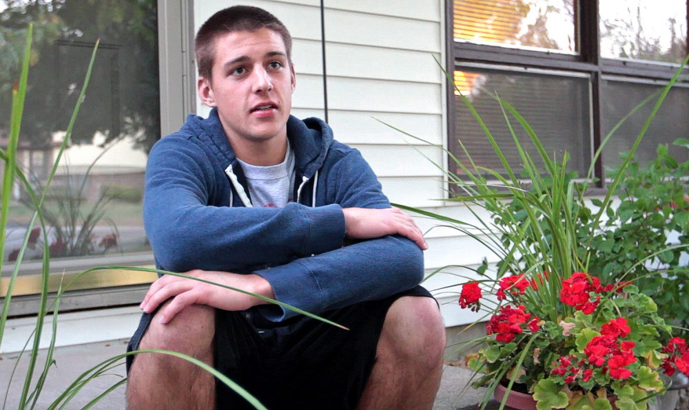 Lac qui Parle Valley High School senior Ryan Bergerson talks about his college aspirations Sept. 29 at his home in Madison, Minn.  Ryan has been accepted to the University of Minnesota and Southwest Minnesota State University in Marshall.