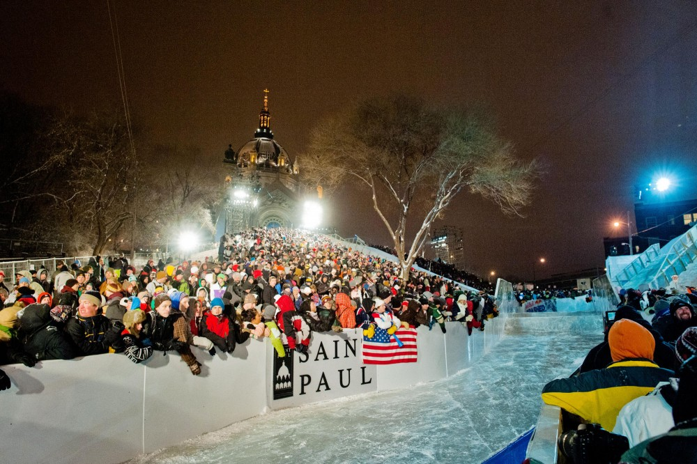 Sponsor Red Bull estimated that about 80,000 spectators showed up on the final day of the Red Bull Crashed Ice World Championship in St. Paul.