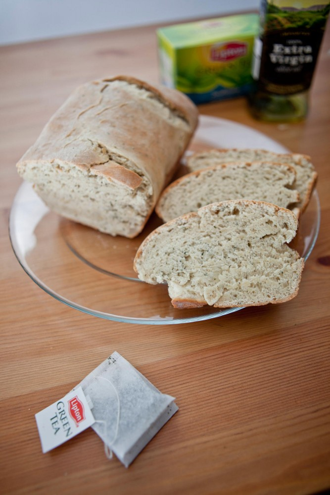 The subtle flavor of green tea and olive oil makes this bread a good addition to any meal.