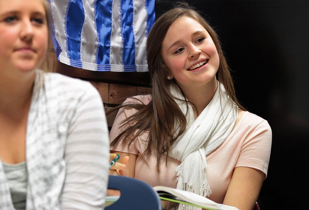 High School senior Tierra Davis laughs at her teacher's joke during math class Thursday, November 3 at Edina High School.  Davis is one of a large majority of seniors that will go on to pursue a four-year degree after graduation.