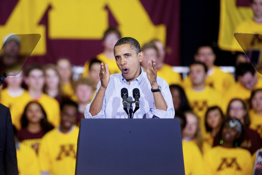 President Barack Obama rallies students to elect Democratic candidates in the elections Oct. 23, 2010 in the Field House.