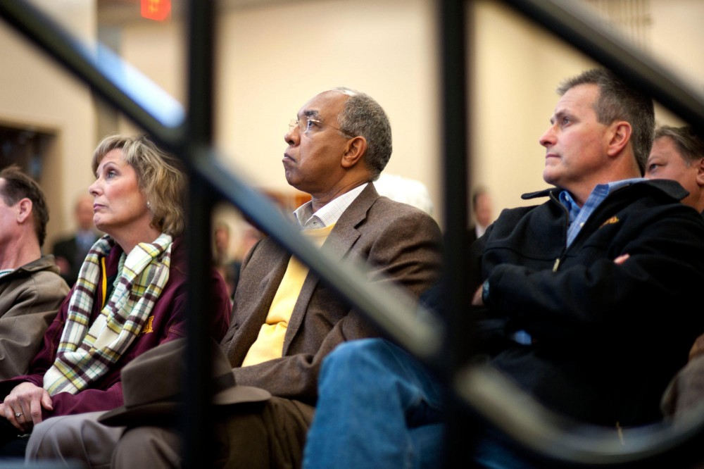 From left, women's gymnastics head coach Meg Stephenson, men's basketball head coach Tubby Smith and men's hockey coach Don Lucia attend a press conference Thursday morning at TCF Bank Stadium. Maturi is retiring as the Golden Gophers' Director of Athletics and will step down at the end of his current contract, which expires on June 30.