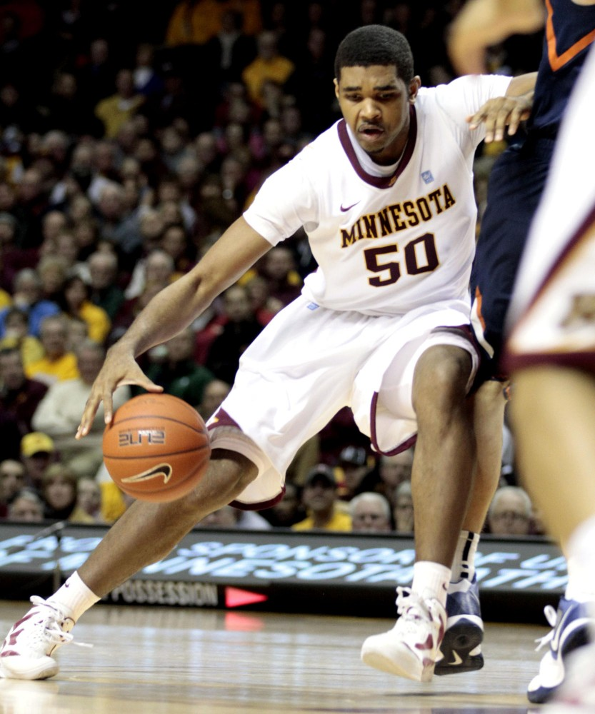Gophers' Ralph Sampson III drives a ball during a game against Illinois on Jan. 28 at Williams Arena.
