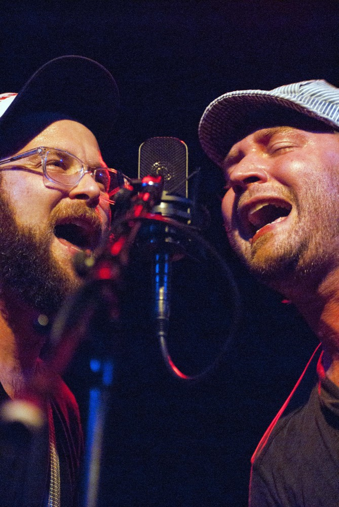 Kevin Kniebel, left, and J. Lenz, right, of Pert Near Sandstone perform Friday night during the band's Cedar Cultural Center performance.  Pert Near Sandstone is a modern Bluegrass band from the Twin Cities.