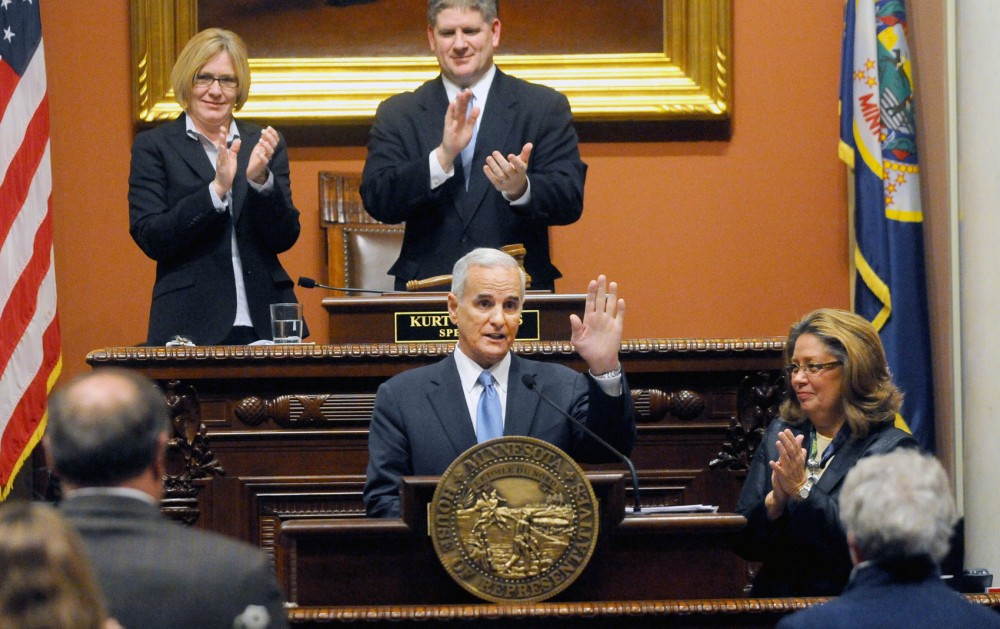 Governor Mark Dayton delivered his State of the State address inside the House chambers on Wednesday evening.