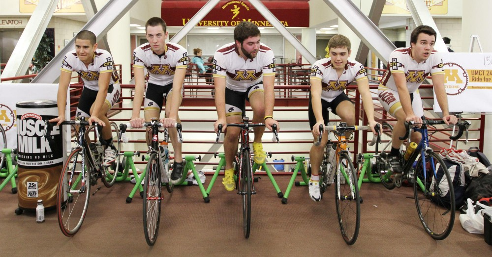 Five members of the University of Minnesota Cycling Team started out the 24-hour Ride for Research fundraiser on Friday at the Recreation Center. The team rode 1,961 miles and raised $2,920 to donate to the American Cancer Society.