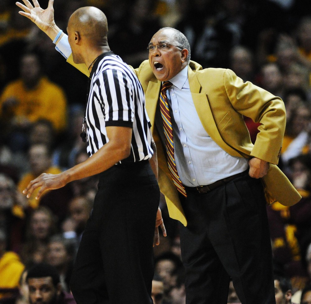 Minnesota mens basketball head coach Tubby Smith gets in the referees face on Tuesday night. Minnesota lost to Ohio State 78-68.