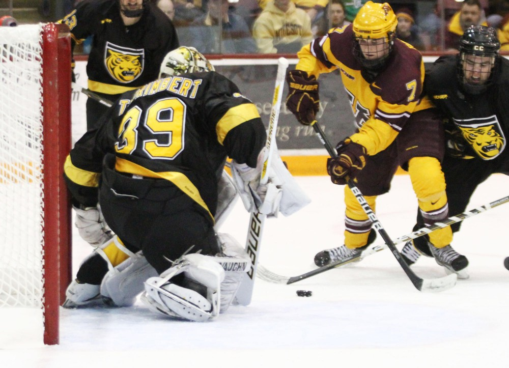 Minnesota Forward Kyle Rau plays against Colorado on Jan. 20 at Mariucci Arena.  Rau was ejected Friday with a game misconduct penalty and suspended for Saturday's game.