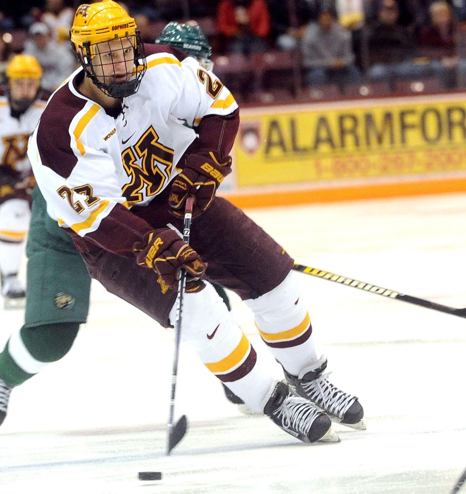 Gophers forward Nick Bjugstad handles a puck during a game against Bemidji State on Feb. 17 at Mariucci Arena.