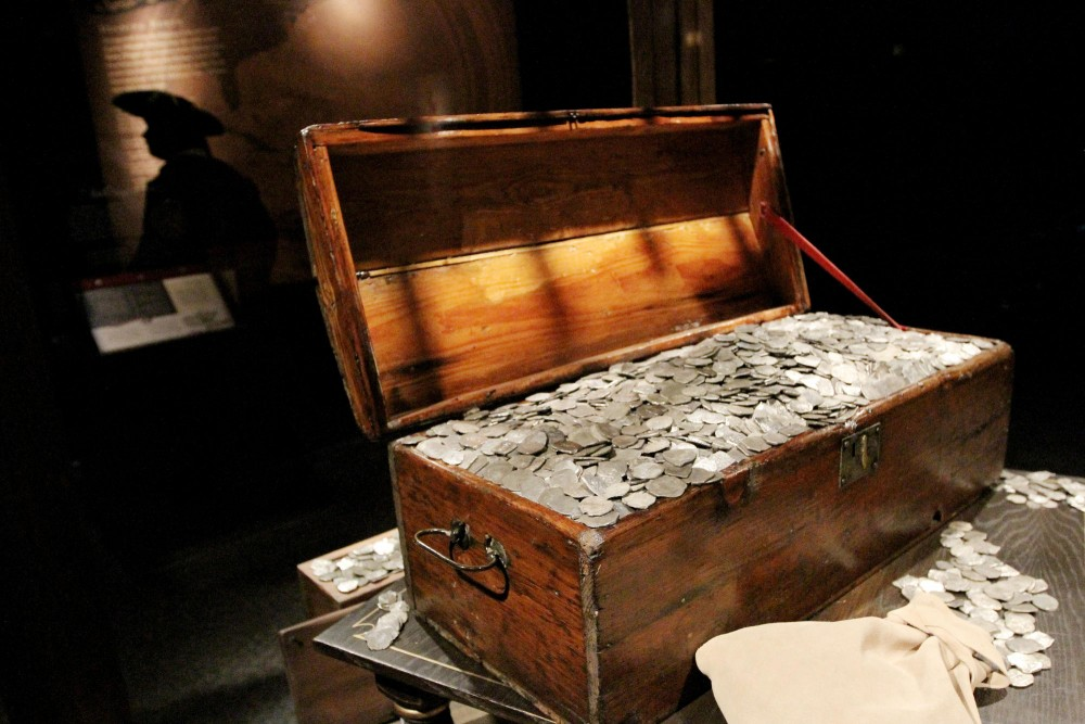 A chest of pirate treasure sits on display at the end of the Real Pirates exhibit at the Science Museum. Underwater explorer Barry Clifford uncovered the Whydah, a sunken pirate ship, years after hearing the story as a child from his uncle.